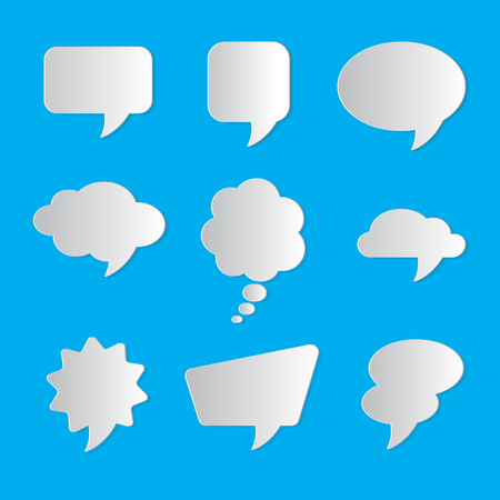 Set of nine dialog boxes on blue background - 3d paper art style