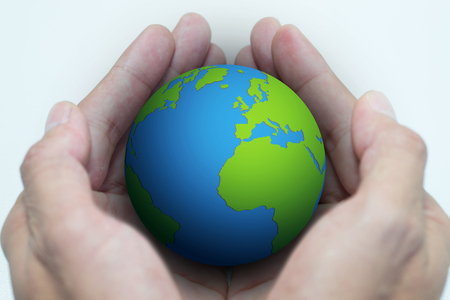 earth handful: Isolated opened hands and the earth on white background - save the world - save environment Stock Photo