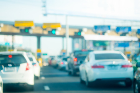 tollway: Abstract blur traffic at the tollway payment gate Stock Photo