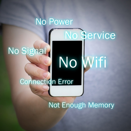 no signal: All common problems of smartphone. No service, no power, no wifi, no signal, connection error and not enough memory