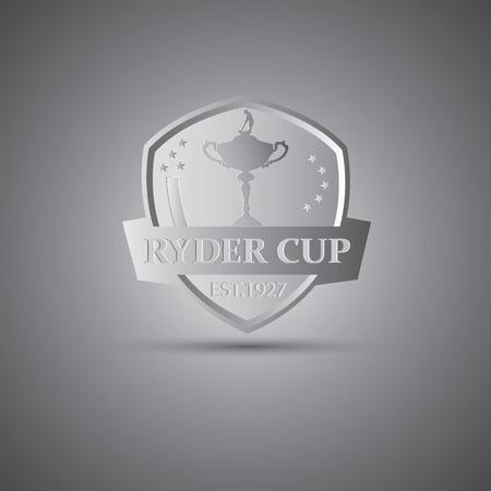 Metallic Ryder cup golf tournament icon Vectores