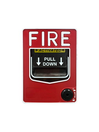 emergency case: Isolated fire alarm box. Pull down to activated the alarm. For safety and protection emergency case from fire in building and industry