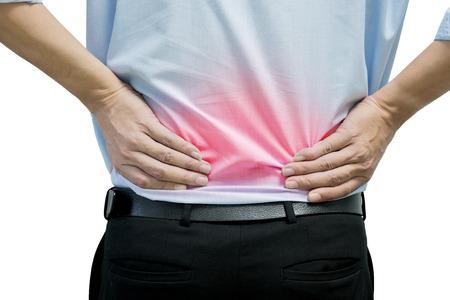 Een man in het blauw shirt voelen pijn aan zijn rug Stockfoto