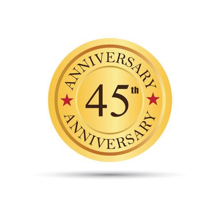 45th: Golden badge 45 years anniversary Illustration