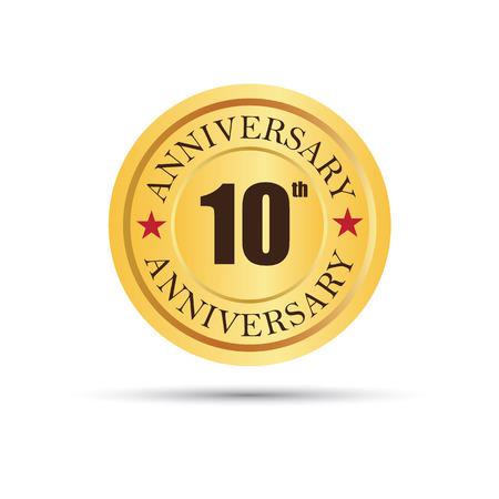 Golden badge 10 years anniversary Vettoriali
