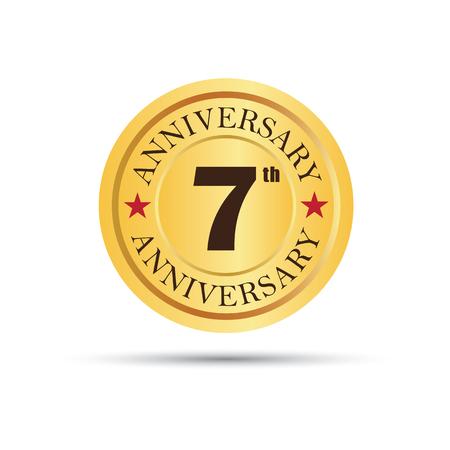 Golden badge 7 years anniversary logo Imagens - 53155026