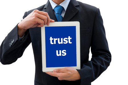trust people: Isolated businessman using tablet for presentation of success and victory and telling people to trust him and his organization