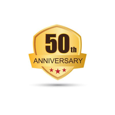 50: Golden badge 50 years anniversary Illustration