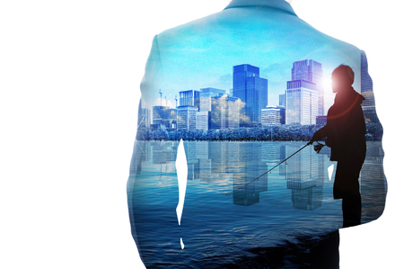 multiple exposure: Multiple exposure businessman, silhouette fisherman and cityscape on white background Stock Photo