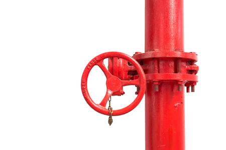 bombero de rojo: tuber�a de agua aislado bombero rojo con v�lvula manual en el fondo blanco