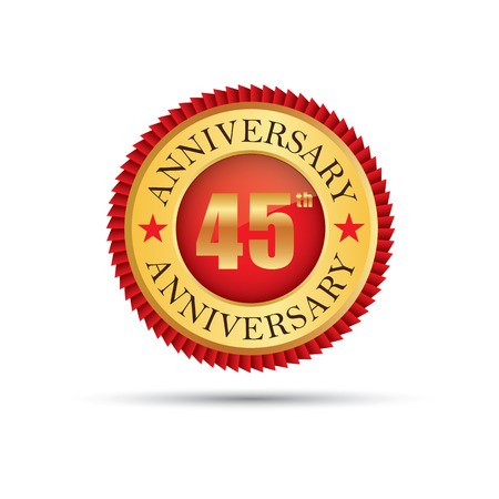 45: Golden badge 45 years anniversary Illustration