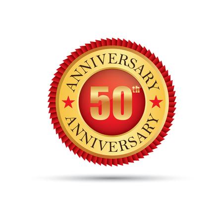 Golden badge 50 years anniversary Ilustração
