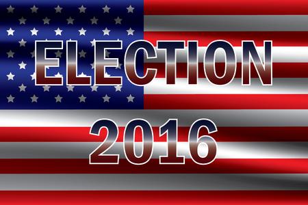 米国旗の背景にアメリカ大統領選 2016  イラスト・ベクター素材