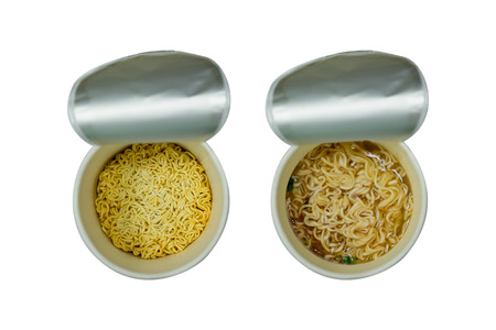 Isolated instant cup noodle before and after boiled Archivio Fotografico