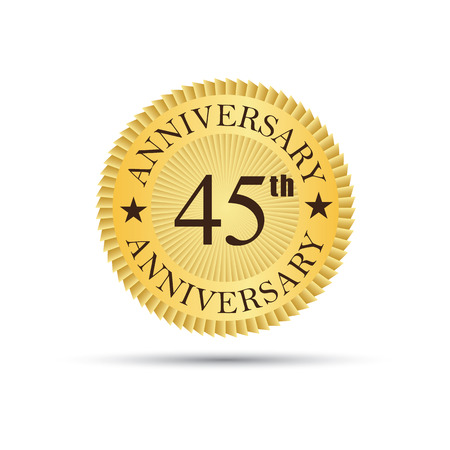 40 45: Golden label badge 45 years anniversary