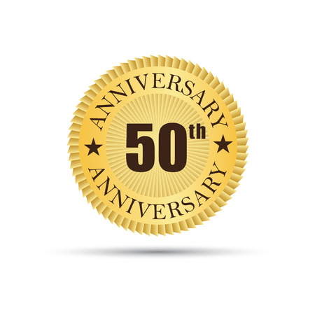 the fiftieth: Golden label badge 50 years anniversary