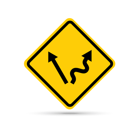 tough: Abstract traffic sign warning that crossroad ahead - easy or tough