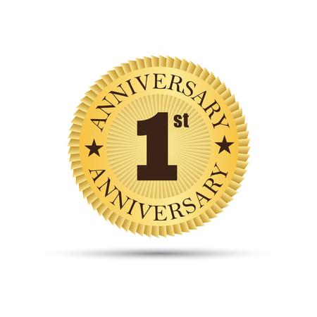 1 year anniversary: Golden label badge 1 year anniversary