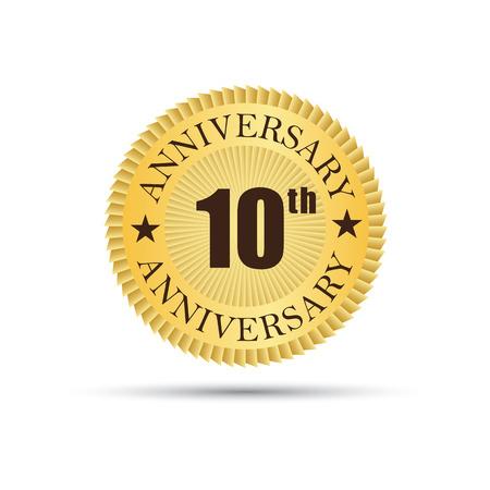 10 years: Golden label badge 10 years anniversary Illustration
