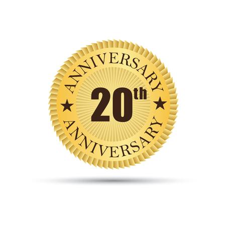 Golden label badge 20 years anniversary