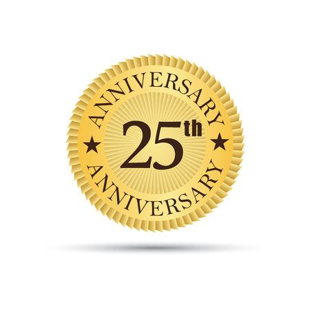 twenty fifth: Golden label badge 25 years anniversary