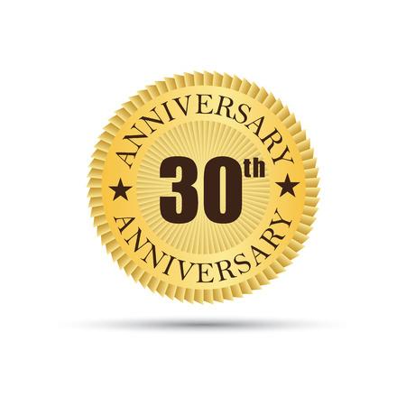 30 years: Golden label badge 30 years anniversary