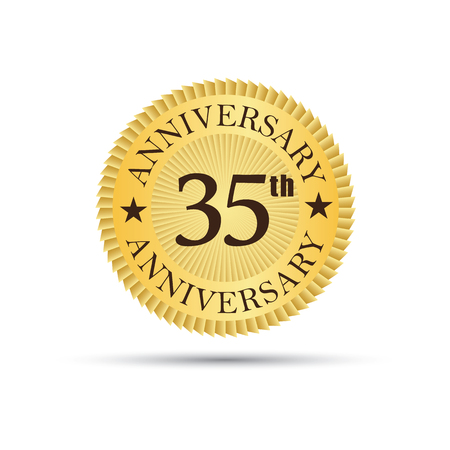 etiqueta insignia de oro de 35 años de aniversario Ilustración de vector