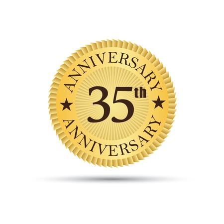 35 years: Golden label badge 35 years anniversary