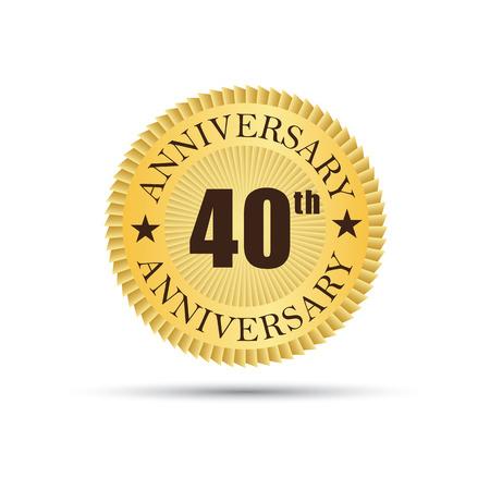 40: Golden label badge 40 years anniversary