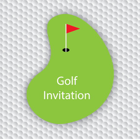 outing: Golf invitation card. Golf green with copyspace on golf ball seamless pattern.