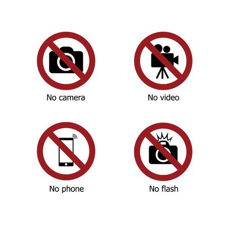 セットは、電子デバイスの記号アイコンを禁止します。カメラがない、ビデオなし、電話なし、フラッシュなし  イラスト・ベクター素材