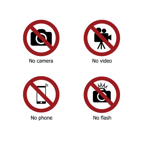 Set of prohibit electronic device sign icons. No camera, no video, no phone and no flash