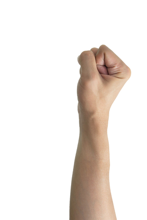 hand raising: Isolated fist hand raising up to the air on white background. Representing confident, brave, strength, fight, victory, win, revolution, etc. Stock Photo