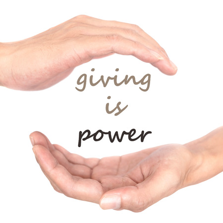 spiritual energy: Hands concept for giving is power. Representing the power of giving, helping, sharing, and hope makes the world better