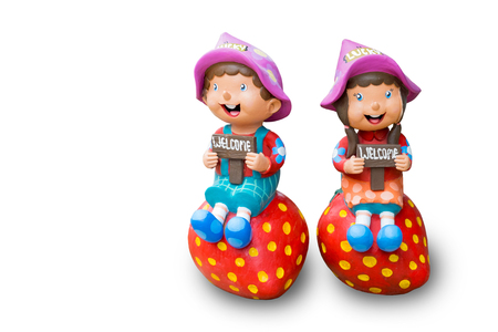 hapiness: Isolated welcome dolls for decoration in shops, restaurants, hotels, etc. The dolls are one boy and one girl smiling and saying welcome to customer with hapiness.