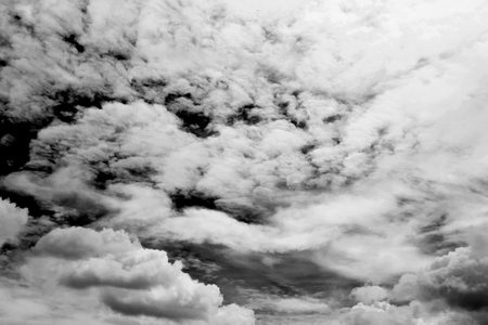 tragic: Summer beautiful sky, cloud and sunshine. Black and white filter. Dark and tragic black sky.