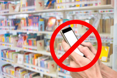 departmentstore: Red sign of phone are not allow, prohibit, forbidden, restricted in library.