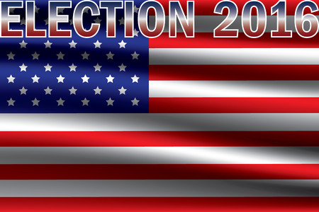 president of the usa: USA presidential election 2016 on USA flag background. Vote for US president 2016 graphic design background. Illustration