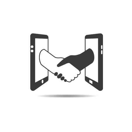 smartphone business: Global business communication and connection technology icon logo graphic design. Two business making deal via smartphone.