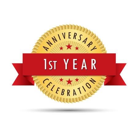 最初年記念日のお祝い金バッジ アイコン ロゴ ベクトル グラフィック デザイン