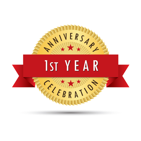 First year anniversary celebration gold badge icon logo vector graphic design