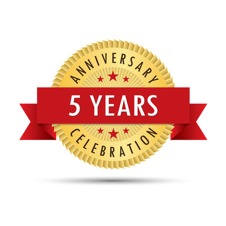 fifth: Five years anniversary, fifth anniversary celebration gold badge icon logo vector graphic design
