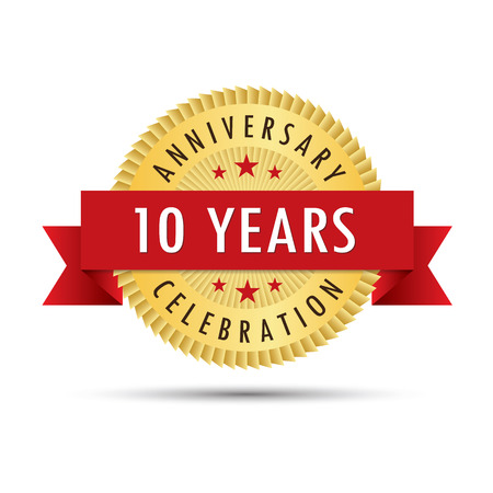 tenth: Ten years anniversary, tenth anniversary celebration gold badge icon logo vector graphic design Illustration