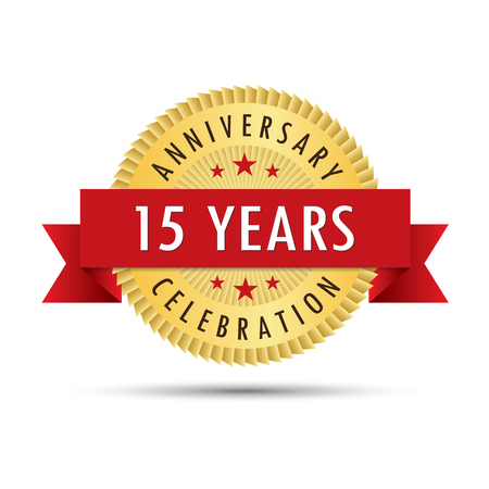 fifteenth: Fifteen years anniversary, fifteenth anniversary celebration gold badge icon logo vector graphic design