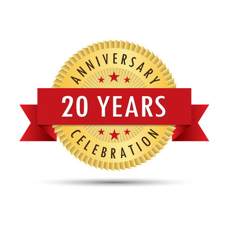 twentieth: Twenty years anniversary, twentieth anniversary celebration gold badge icon logo vector graphic design