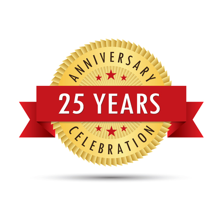 Twenty five years anniversary, twenty fifth anniversary celebration gold badge icon logo vector graphic design