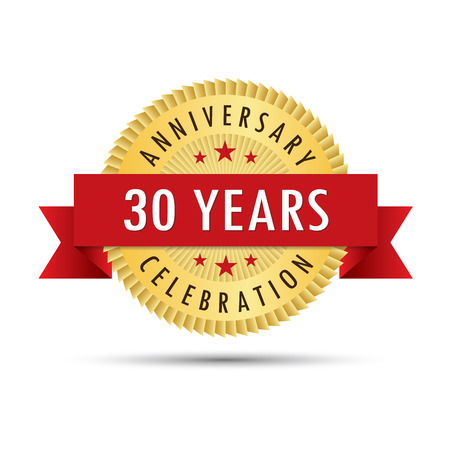 Thirty years anniversary, thirtieth anniversary celebration gold badge icon logo vector graphic design