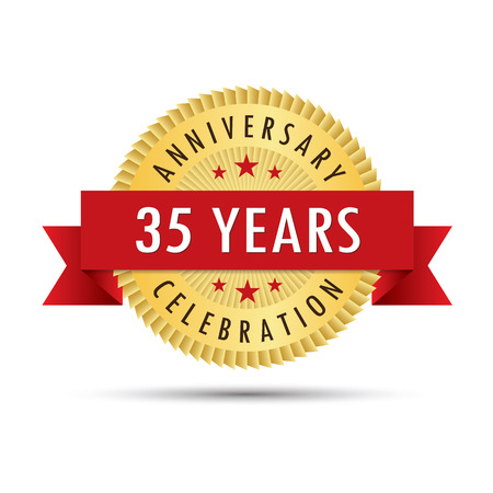 Thirty five years anniversary, thirty fifth anniversary celebration gold badge icon logo vector graphic design Illustration