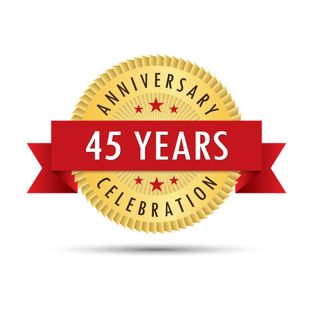 forty: Forty five years anniversary, forty fifth anniversary celebration gold badge icon logo vector graphic design
