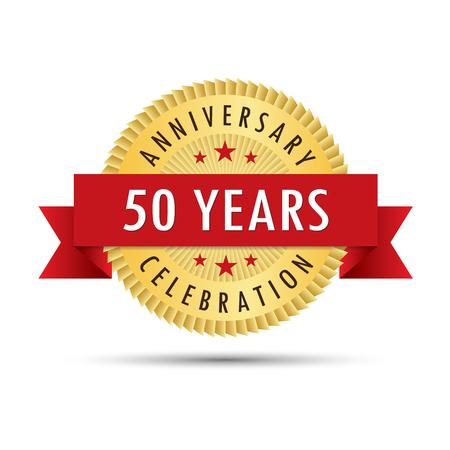 Fifty years anniversary, fiftieth anniversary celebration gold badge icon logo vector graphic design